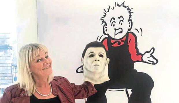 Oor Wullie looks on as Carrol Douglas-Welsh displays a severed head.