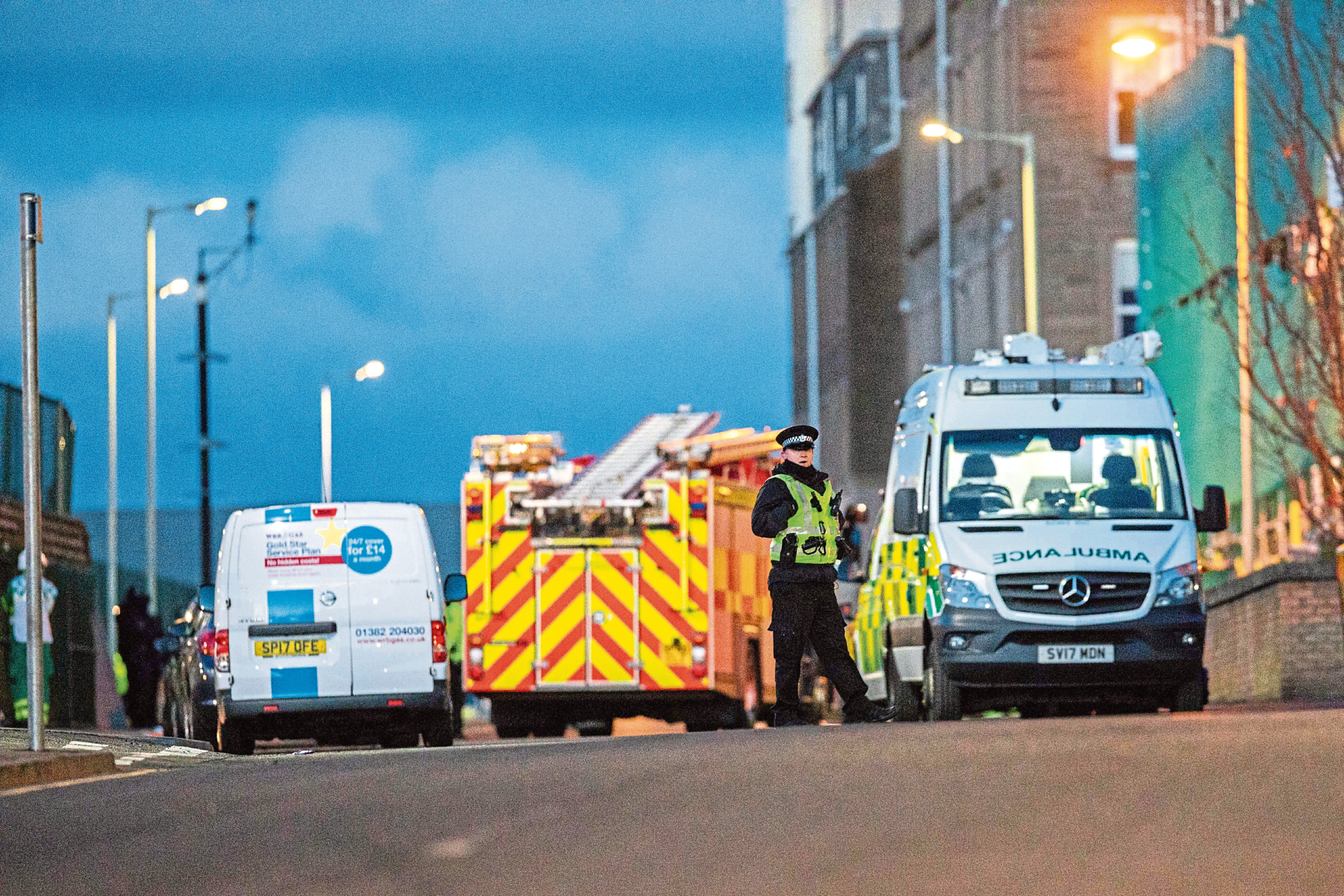 Emergency services on Ann Street during the incident.
