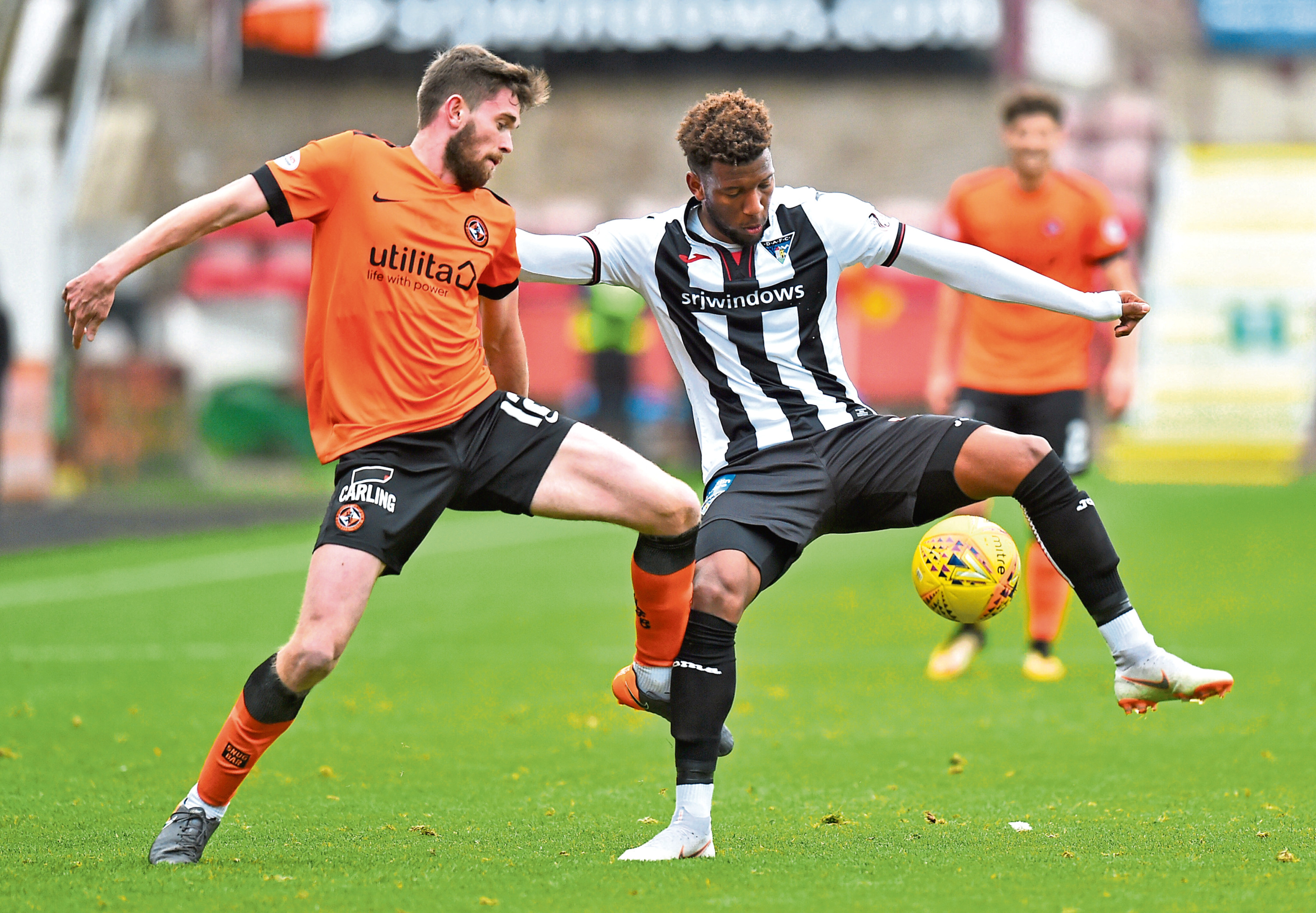 Dundee United defended from the front in their 2-0 win at East End Park against Dunfermline on Saturday.