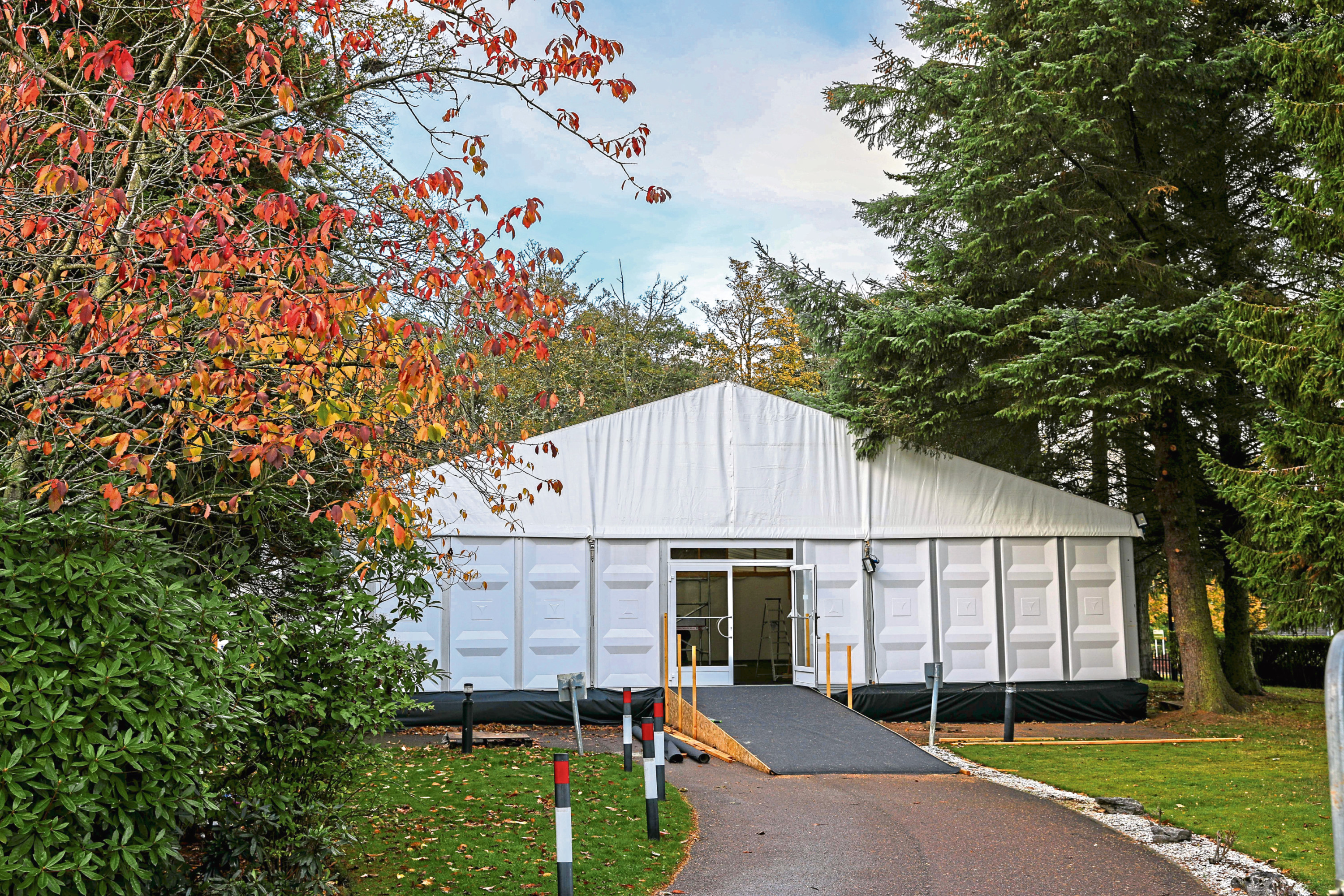 The temporary chapel at Dundee Crematorium
