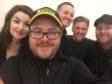Cunningham's Scrap cast and crew – L to R: Rehanna MacDonald (Troopti Palmer), John Fairfield (co-producer), Scott Kyle (Bab Cunningham), Fraser Murdoch (Writer-director) and Gregor Firth (Benjy McGynn)