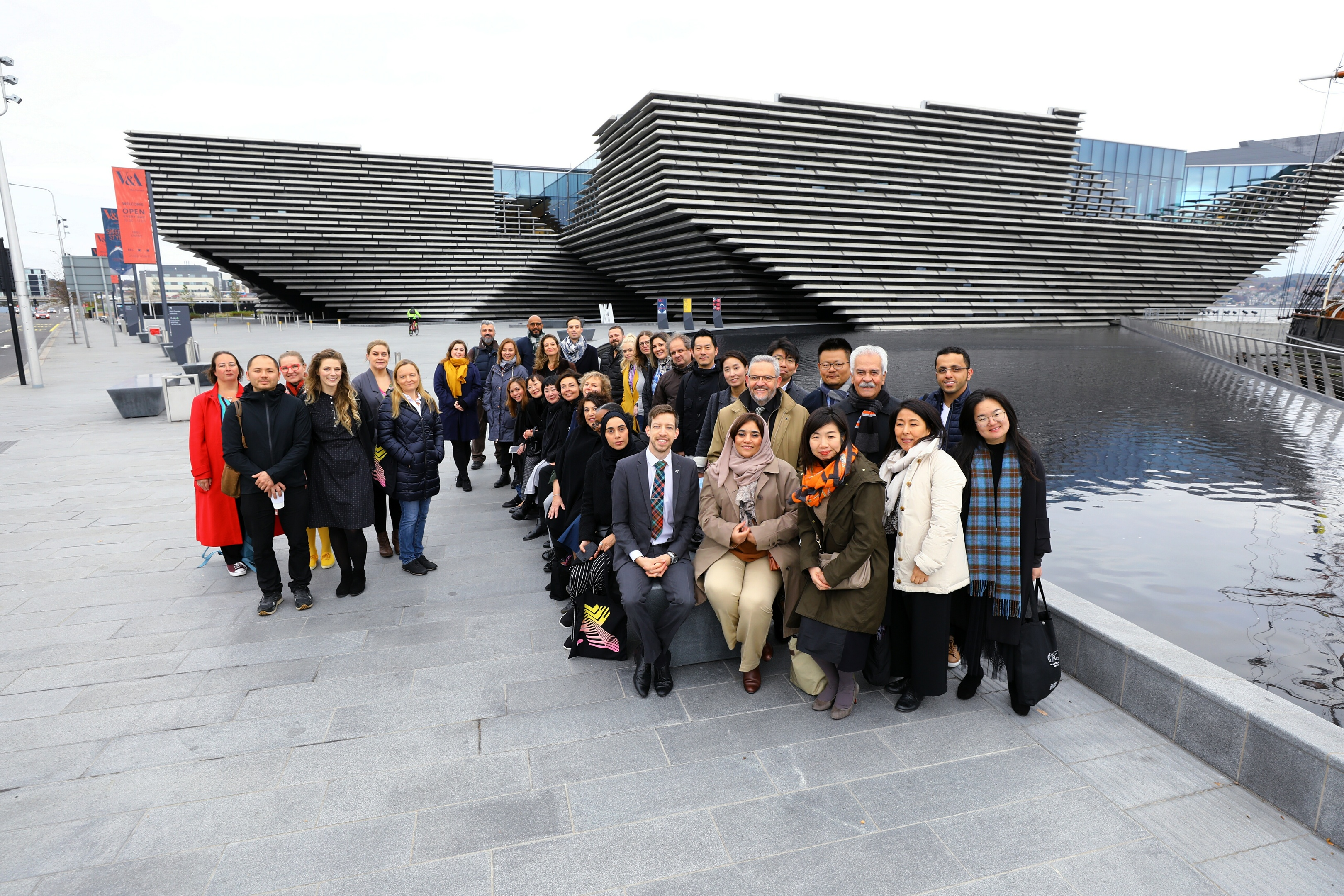 Council leader John Alexander, front, with the UNESCO delegates at the V&A