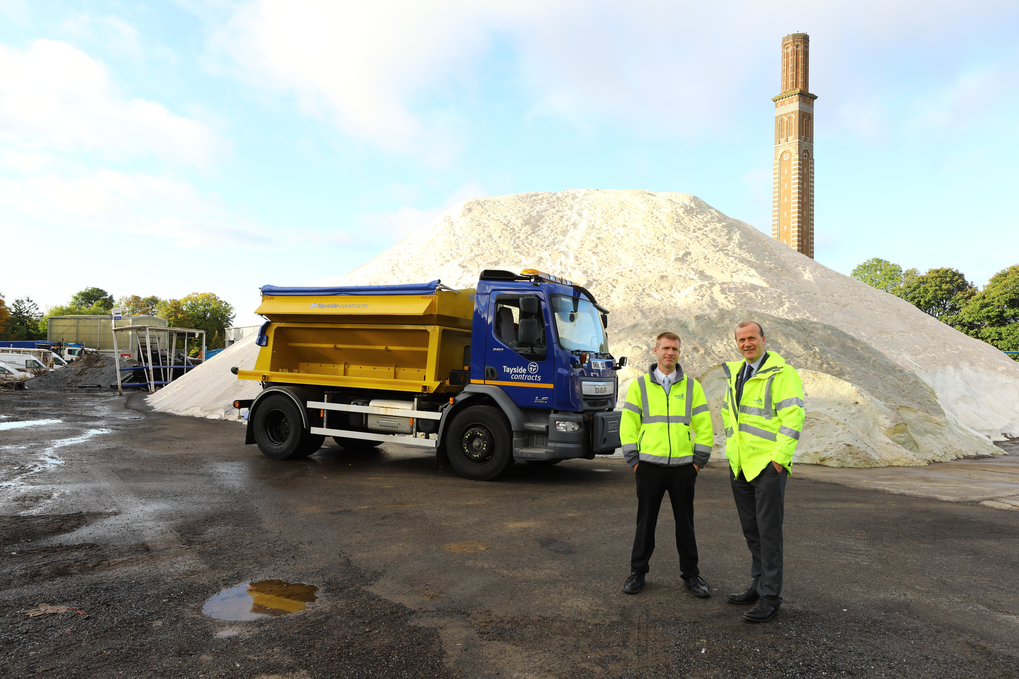 Ewan Macnaughton, of Tayside Contracts, and Mark Flynn at Tayside Contracts Marchbanks salt pile.