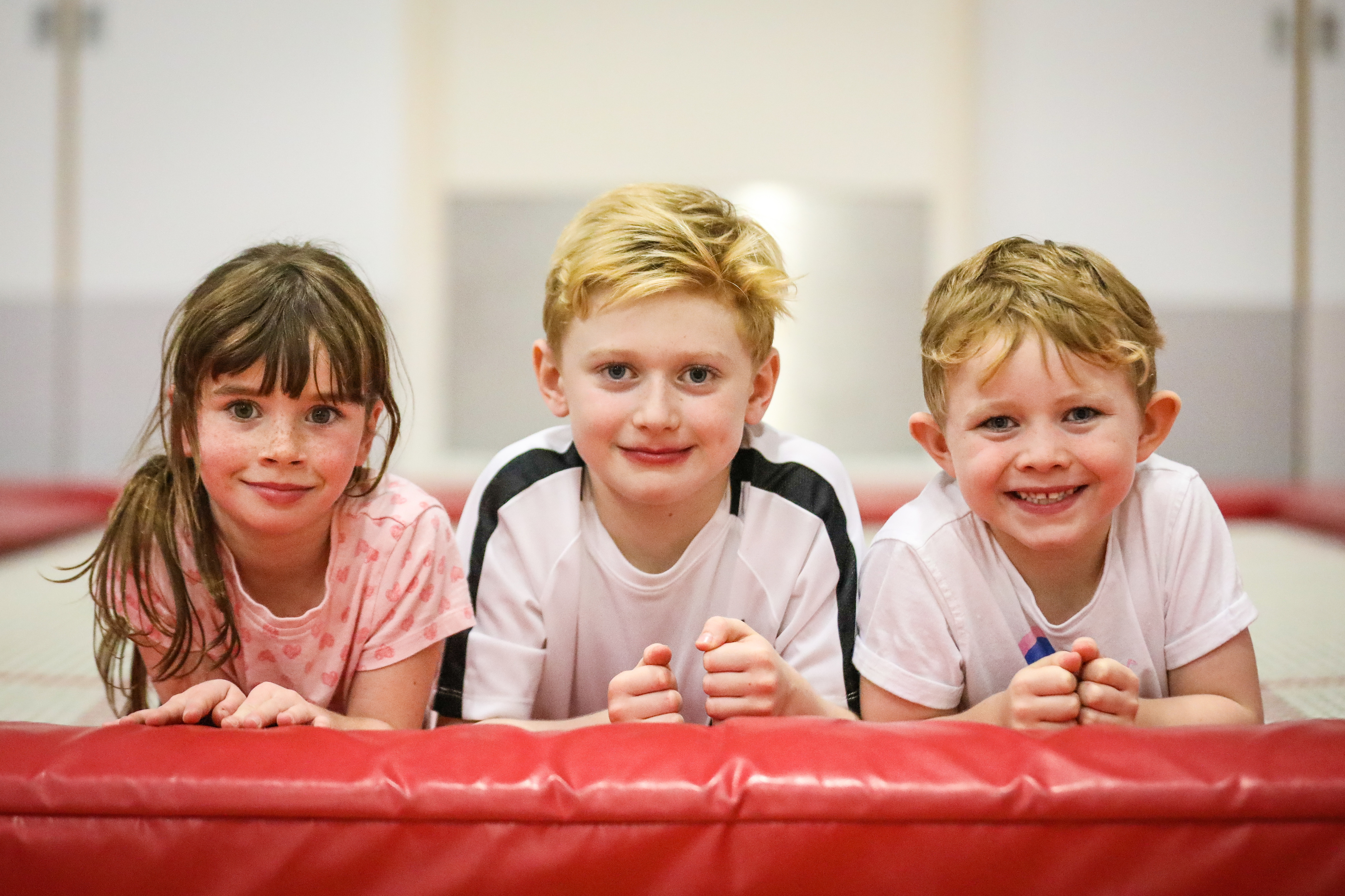 Some of the youngsters from the camp – Casey Henderson, 8, Greyson Geddes and Hudson Geddes,