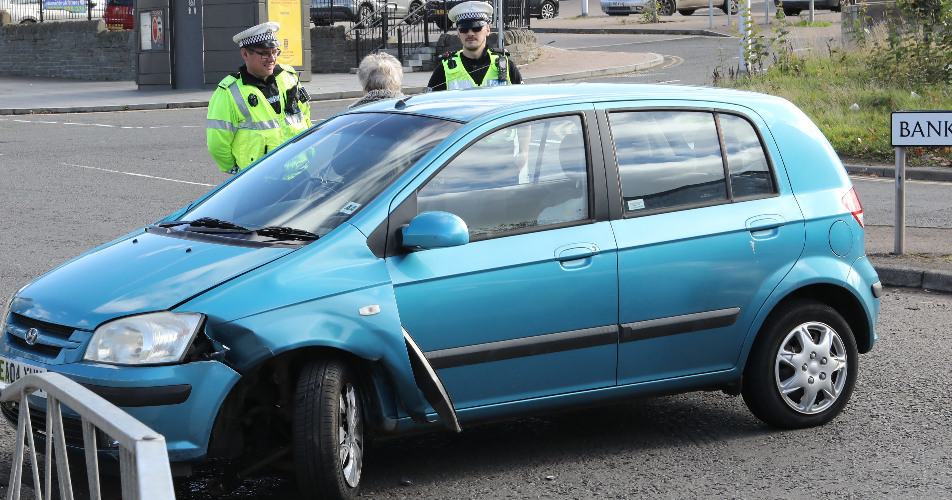 Police on the scene after a crash closed a the road eastbound between Bank Street and High Street Lochee