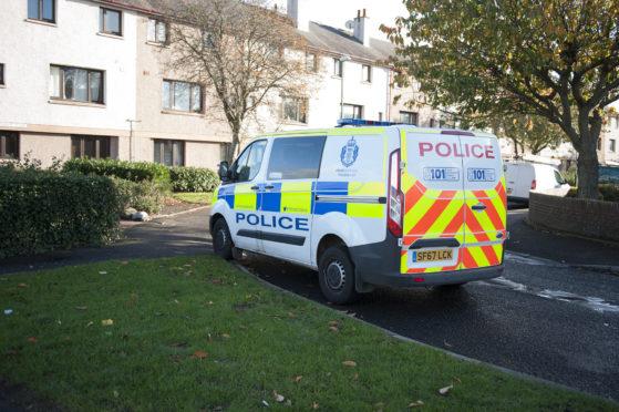 Caption (description) - Montrose Incident, Picture shows, Police at the scene, 29 October 2018