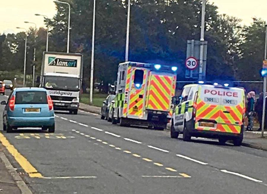 Ambulance outside  St Paul's RC Academy, Dundee