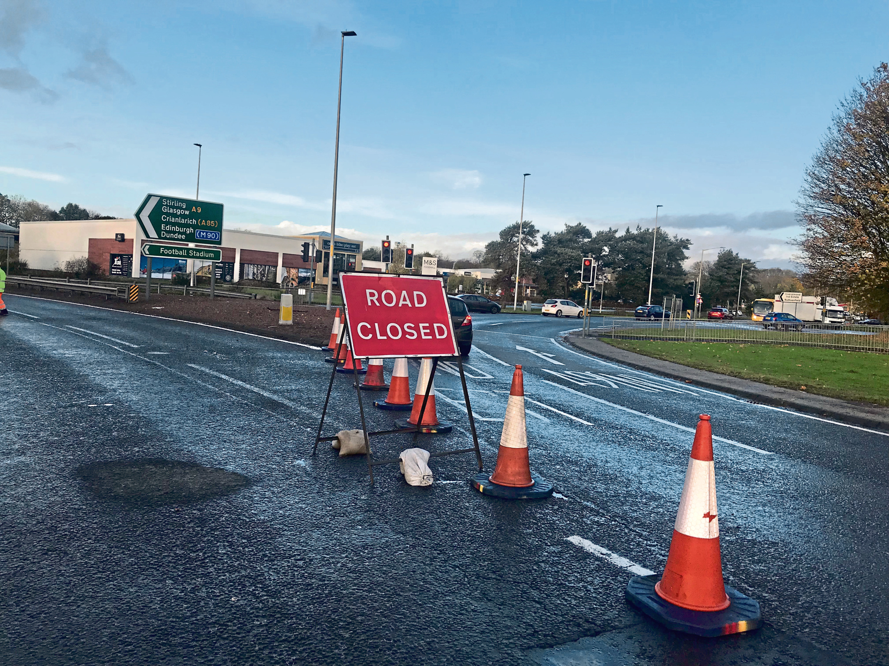 Scene of the fatal accident on the A9 Inveralmond-Broxden Roundabout, Perth
