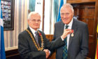 Frank receiving his BEM from Lord Provost Ian Borthwick in 2018,