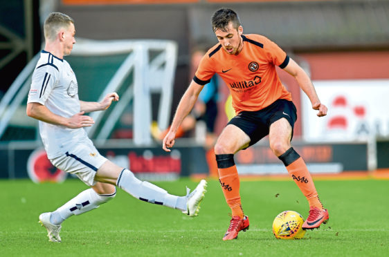 Dundee United defender Callum Booth (right) was forced off late on at the weekend after suffering a hamstring problem.