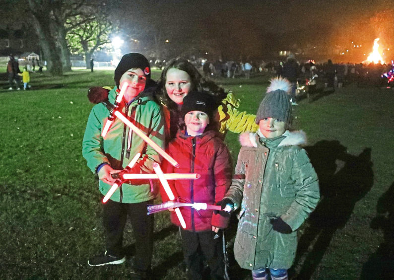 Aaleah Miller,10 ,Rhian Miller, 6,Stuart Duffy, 8 and Mason Duffy, 5, from Whitfield at Baxter Park