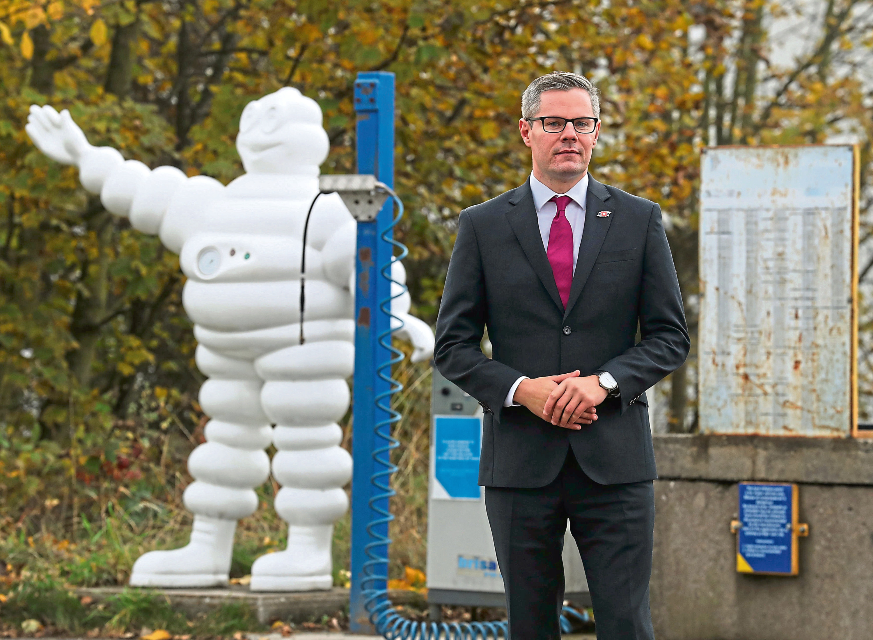 Cabinet Secretary for Finance and the Constitution Derek Mackay during a visit to Michelin's Dundee tyre factory