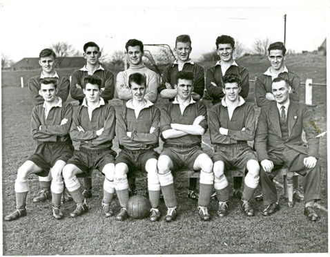 This North End Junior FC team photo from November 1956 is from a very successful season for the Dokens. Back row (from left) – McCafferty, Morton, McDonald, Gabriel, McCabe, Ward.  Front row – Logie, Kelly, Duncan, Donaldson, Smith, H Smart (trainer). Jimmy Gabriel, of course, would go on to star for Dundee and Everton.