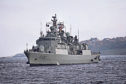 n Picture shows Portuguese Navy ship NRP Corte-Real (F332) approaching Dundee Harbour.