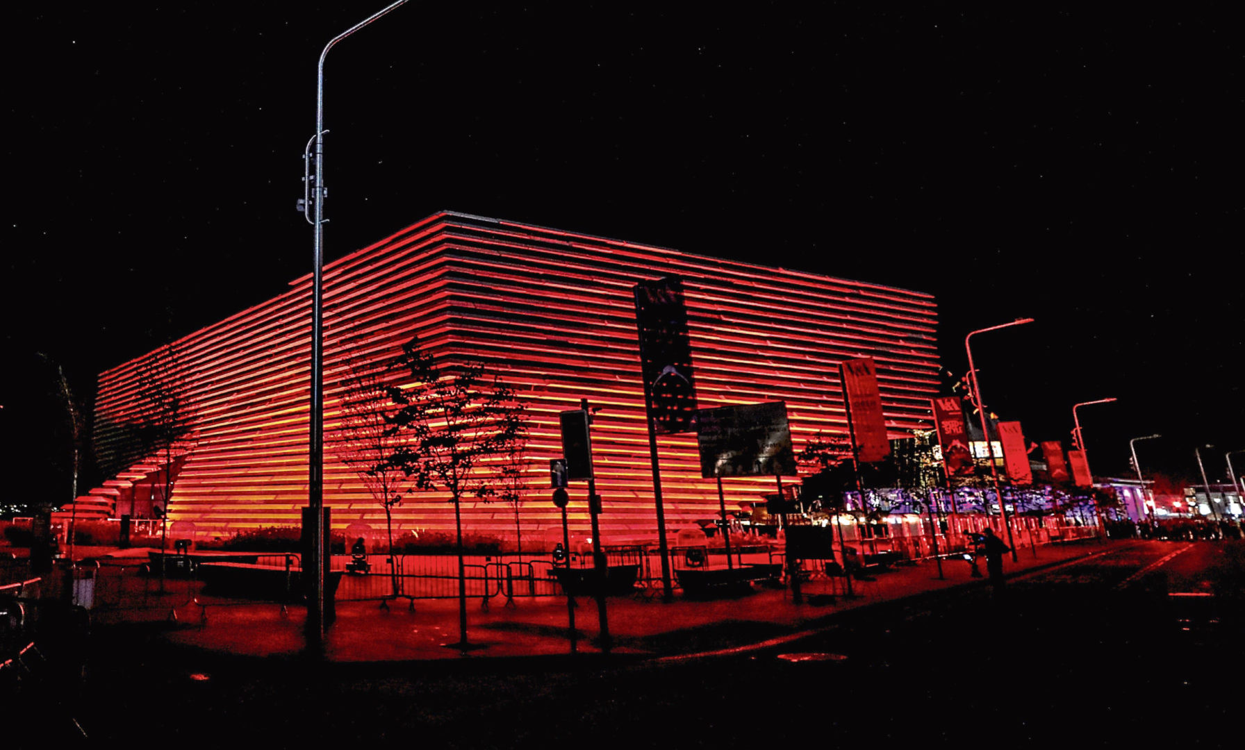 V&A Dundee makes a spectacular impression as it is lit up during the 3D Festival – and will be cloaked in red again for World Aids Day