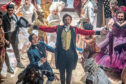 Hugh Jackman as P.T. Barnum and Keala Settle as the bearded lady Lettie Lutz in The Greatest Showman.