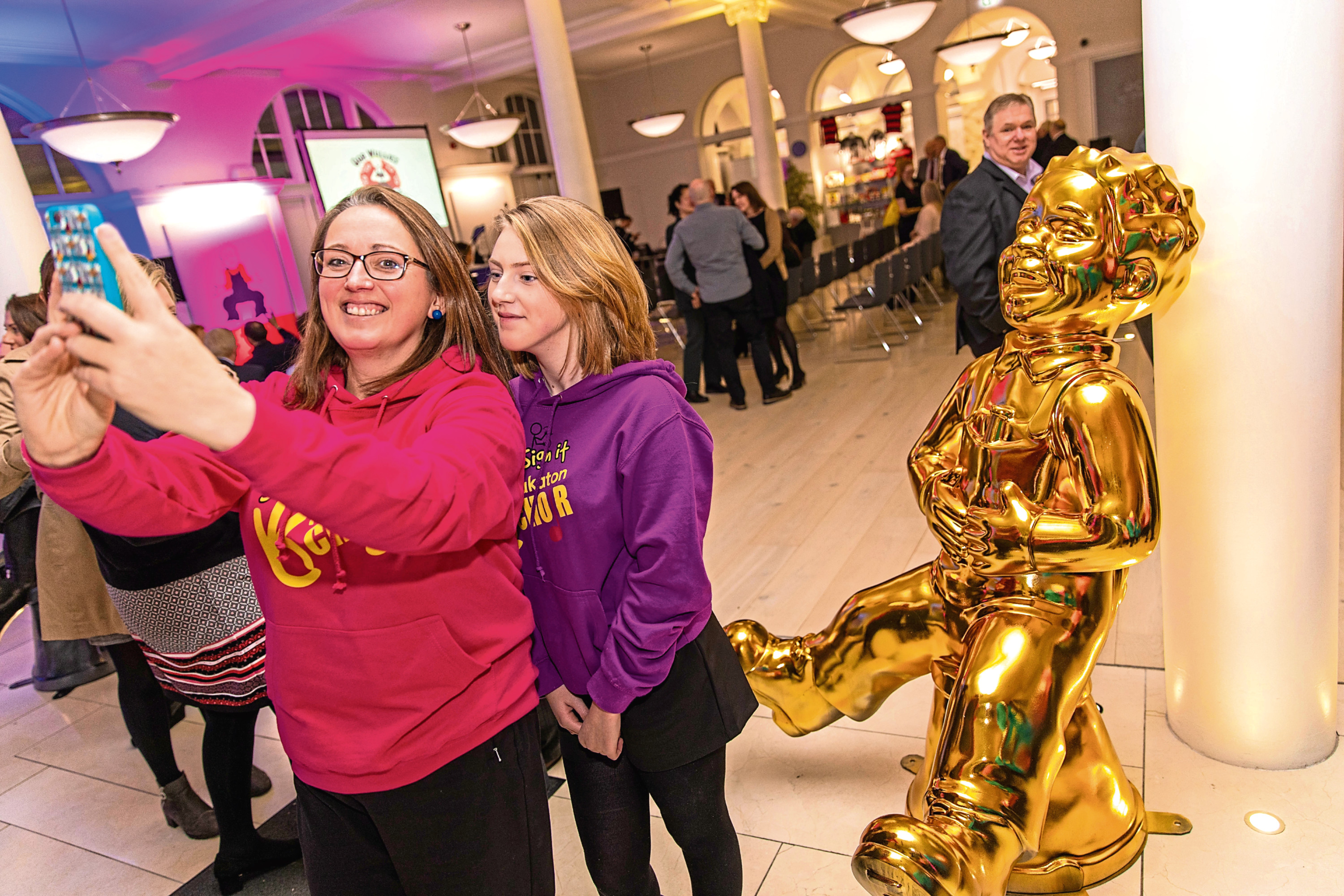Nicola and Abbie Richardson grab a selfie with Oor Wullie at the launch