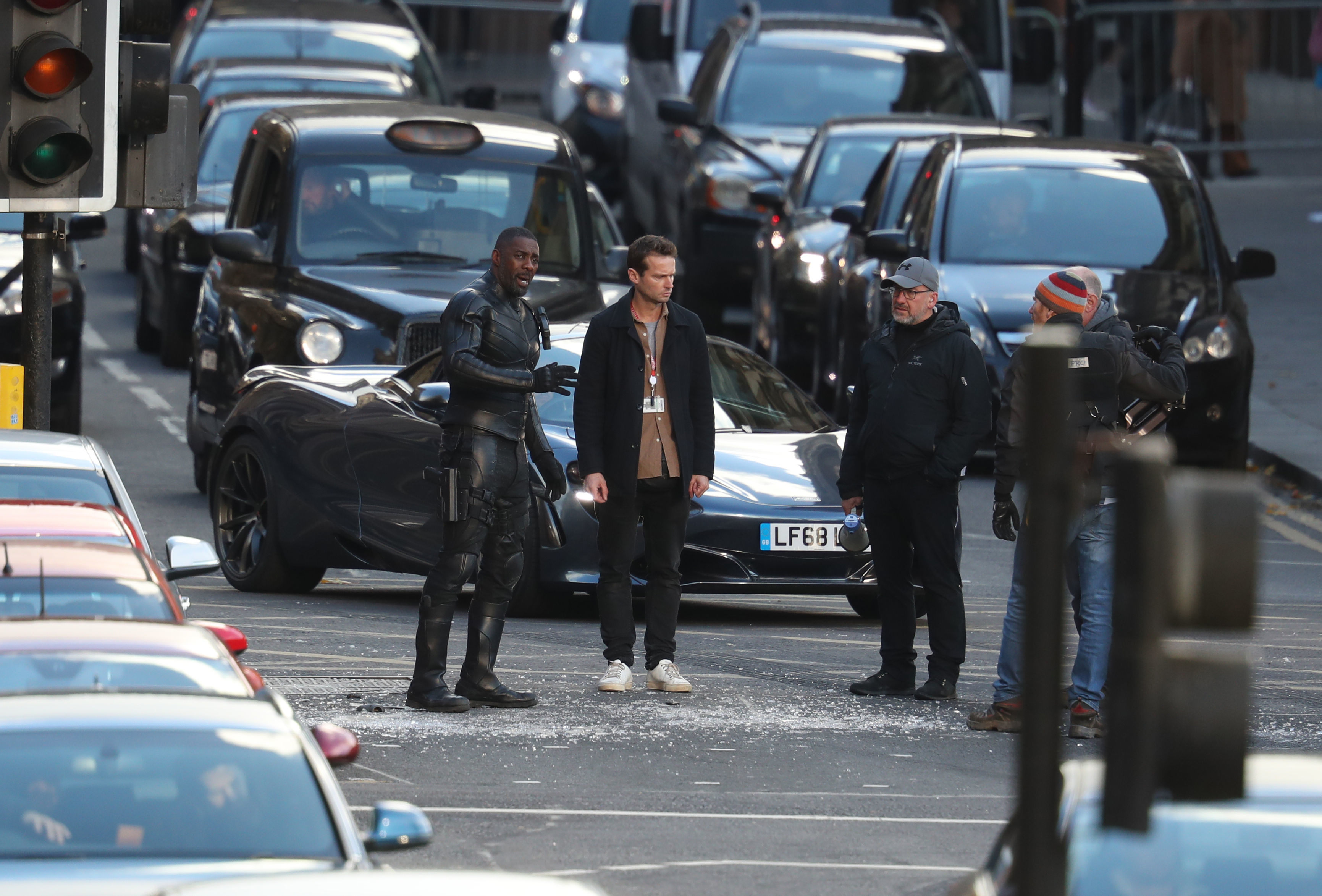 Actor Idris Elba during filming in Glasgow city centre for a new Fast and Furious franchise movie