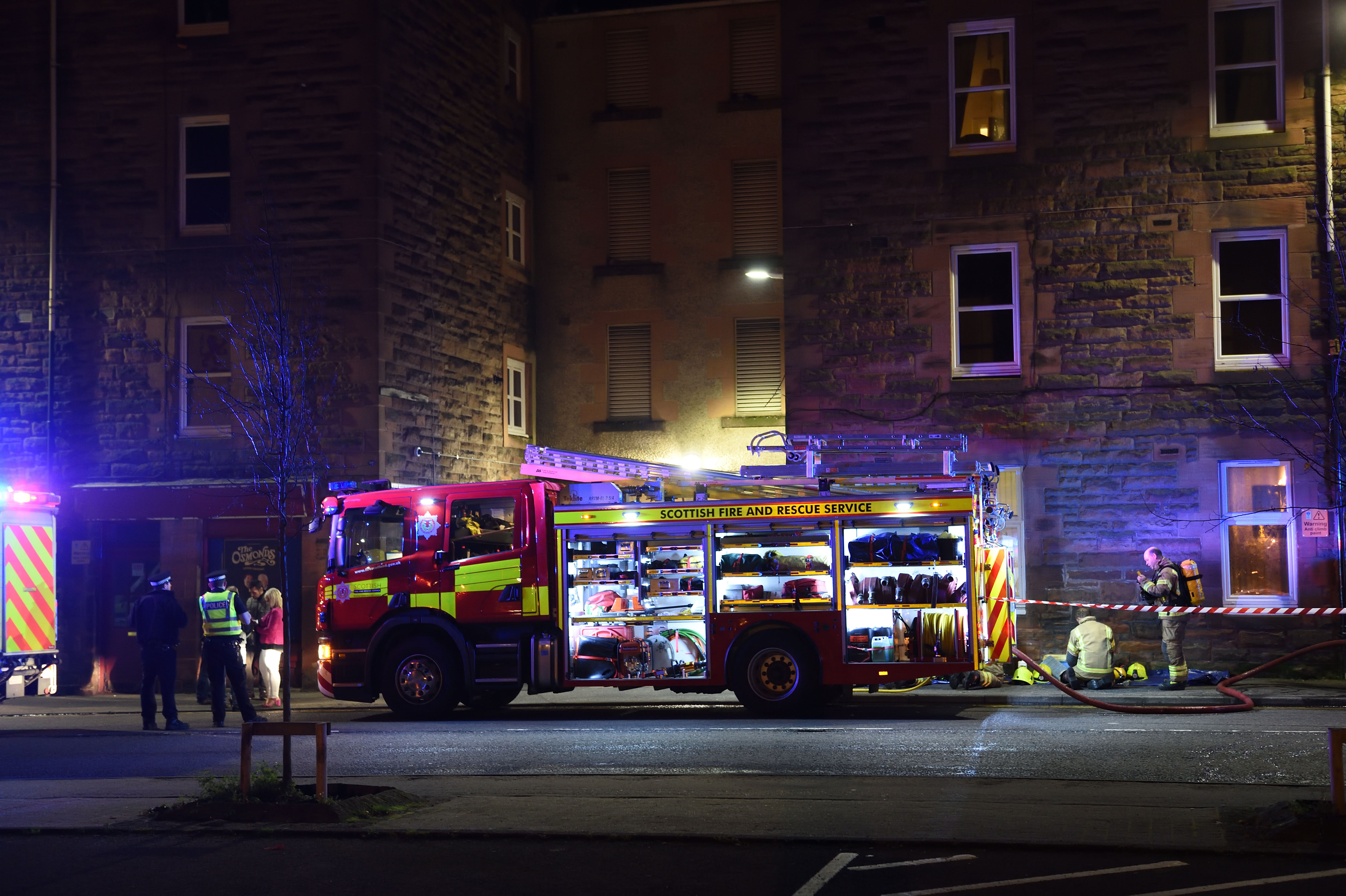 Firefighters outside the block in St Catherine's Square