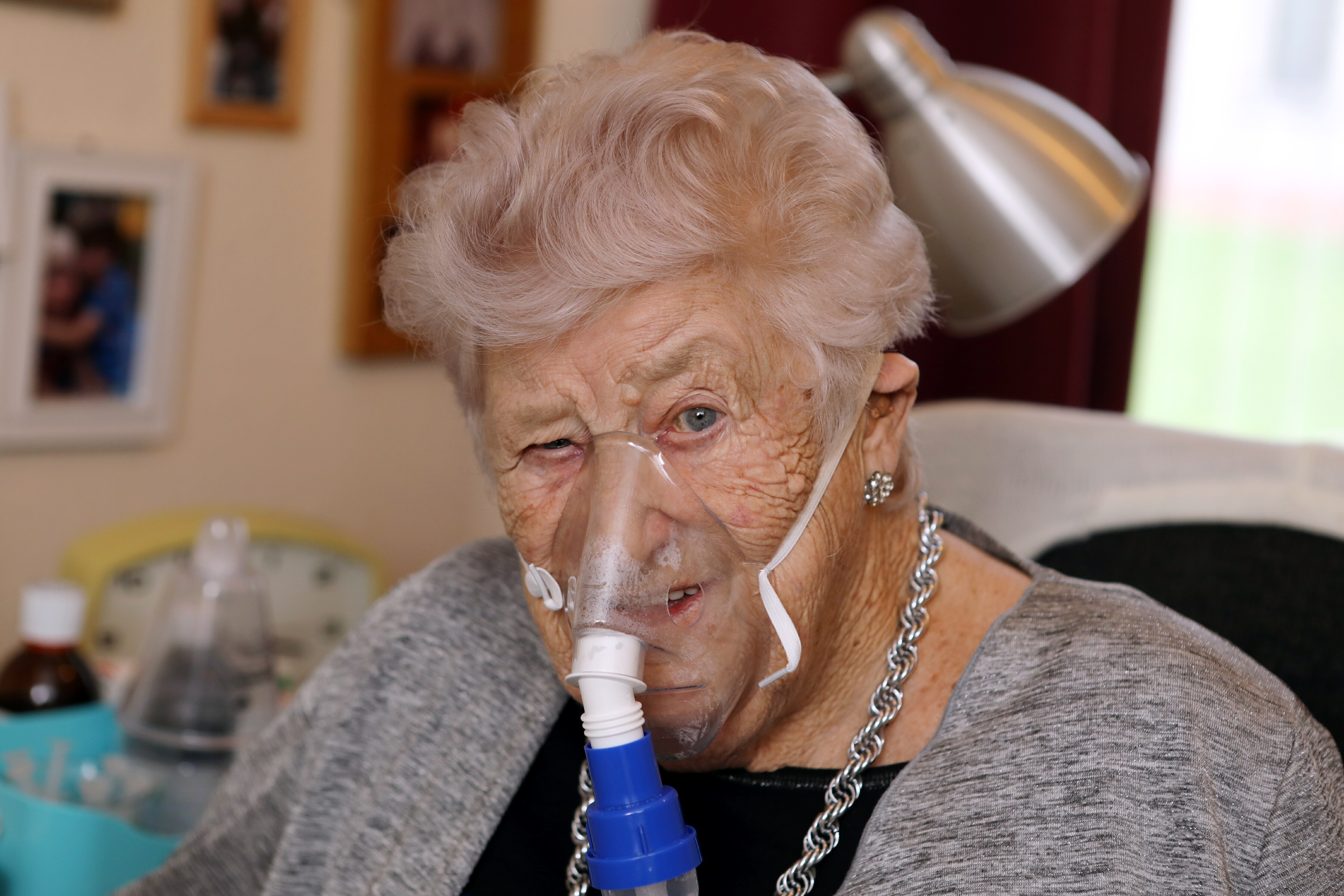 COPD sufferer Annie Crowe, 90, gave up smoking just four years ago and is now on oxygen 18 hours a day