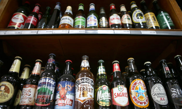 Alcohol for sale in an off-licence.