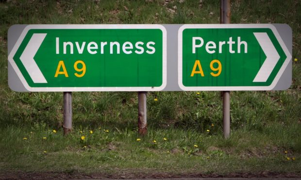 A sign at the side of the A9.