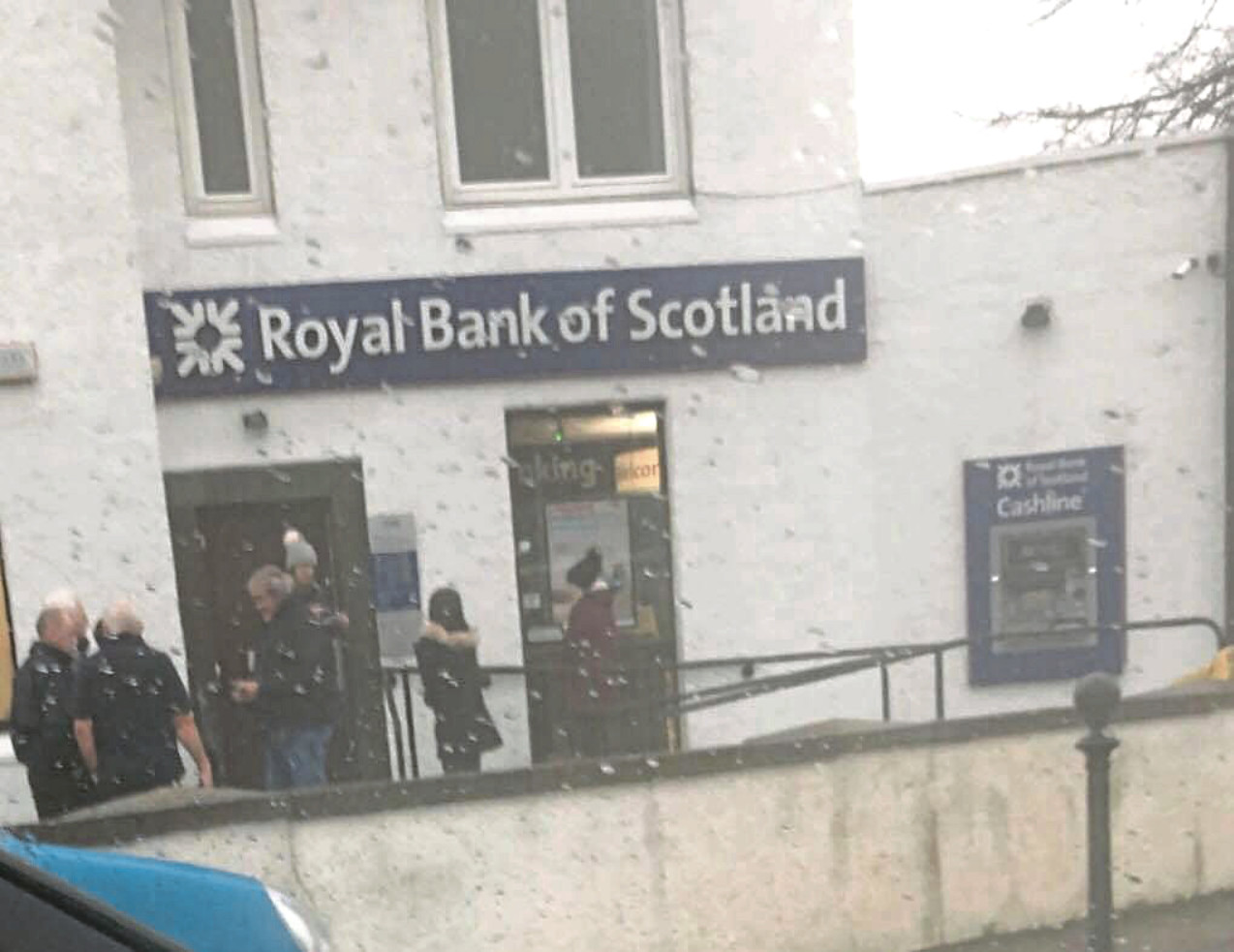 Customers were forced to queue in the car park of the Royal Bank of Scotland branch in Downfield