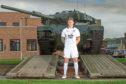 Josh Meekings models the 2018-19 Dundee FC third kit at Leuchars Station Army Base, part of the proceeds from sales of the  new kit will benefit SAFA the Armed Forces' Charity   - © David Young - www.davidyoungphoto.co.uk - email: davidyoungphoto@gmail.com