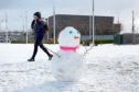 A snowman in Slessor Gardens earlier this year