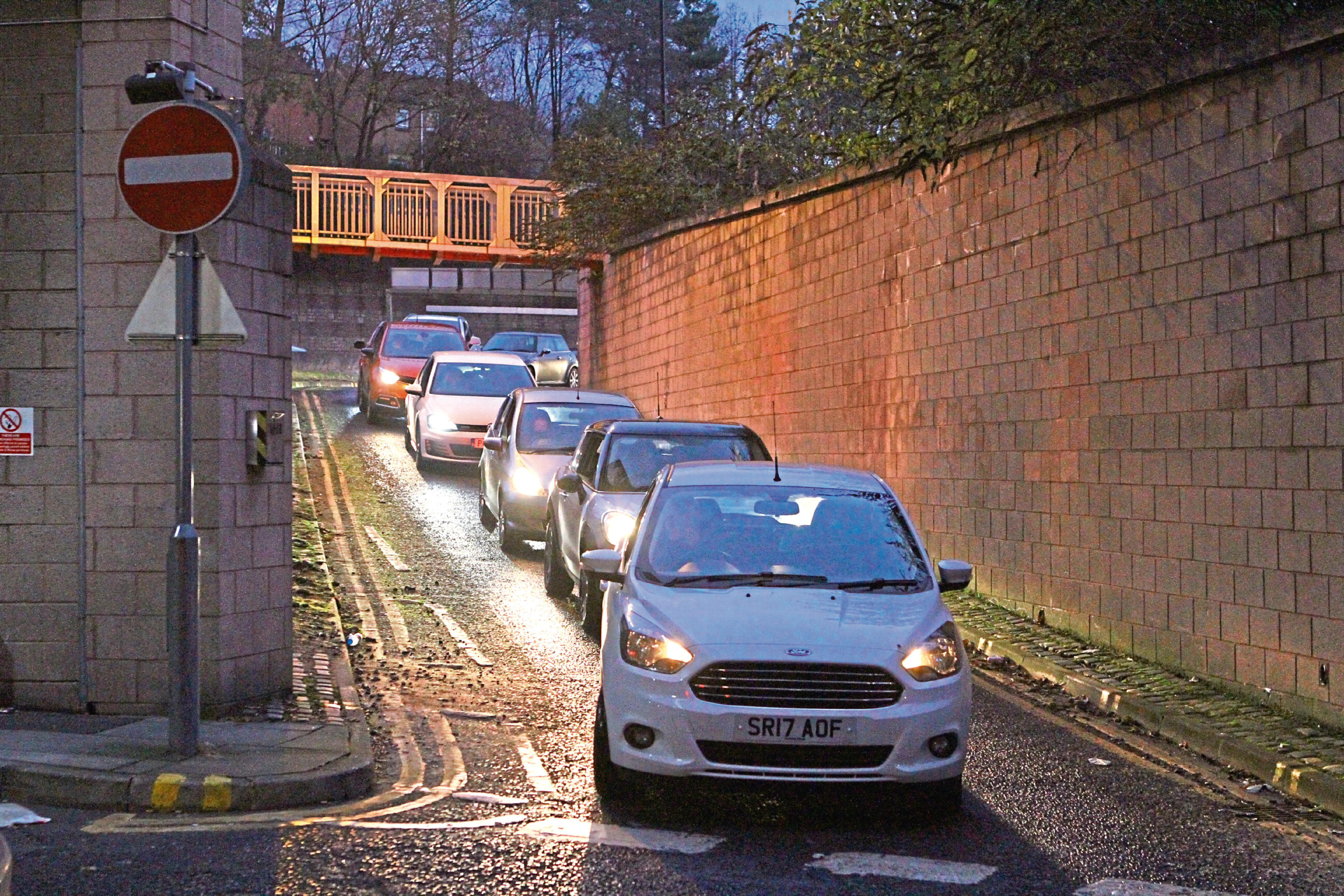 Vehicles queued off after the closure of the car park at the Wellgate Shopping Centre