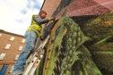Paco Graff's mural taking shape.
