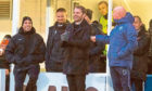 Robbie Neilson jokes with Morton assistant Peter Houston (right)