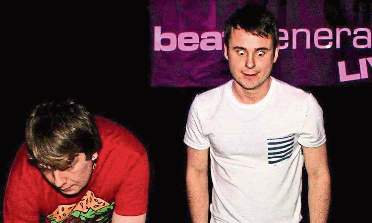 Lewis Salvona with Scott Williams at a DJ set at the Beat Generator in Dundee.