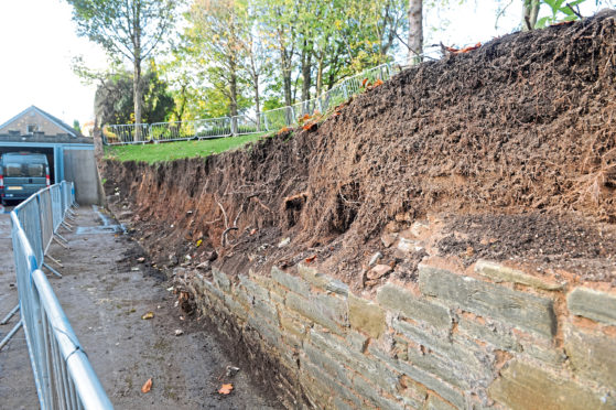 The wall on Ellieslea Road in Broughty Ferry came crashing down moments after Karen Arensbach and her three-year-old daughter drove past in October 2017