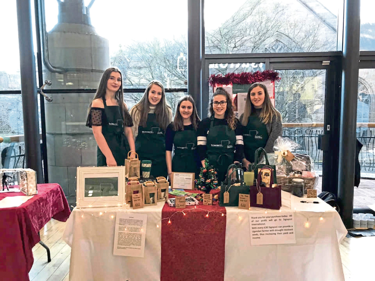 Members of the group are Robyn Archibald, Lauren Duffy, Claire Roberts, Anna Bennett, and Nina McNicol.