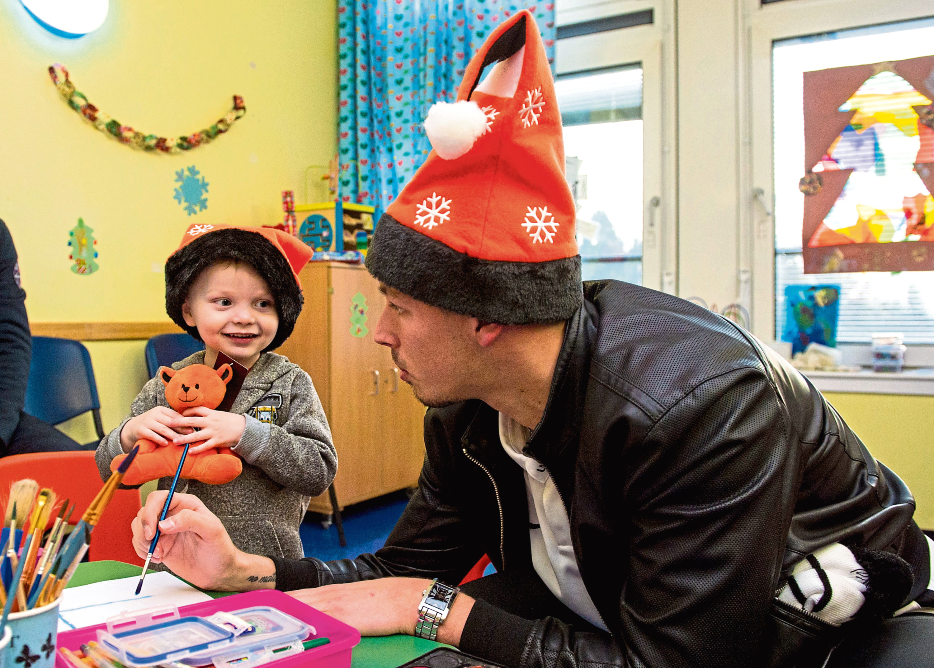 Benjamin Siegrist was part of the United party that visited Ninewells Hospital earlier this week to hand out Christmas presents