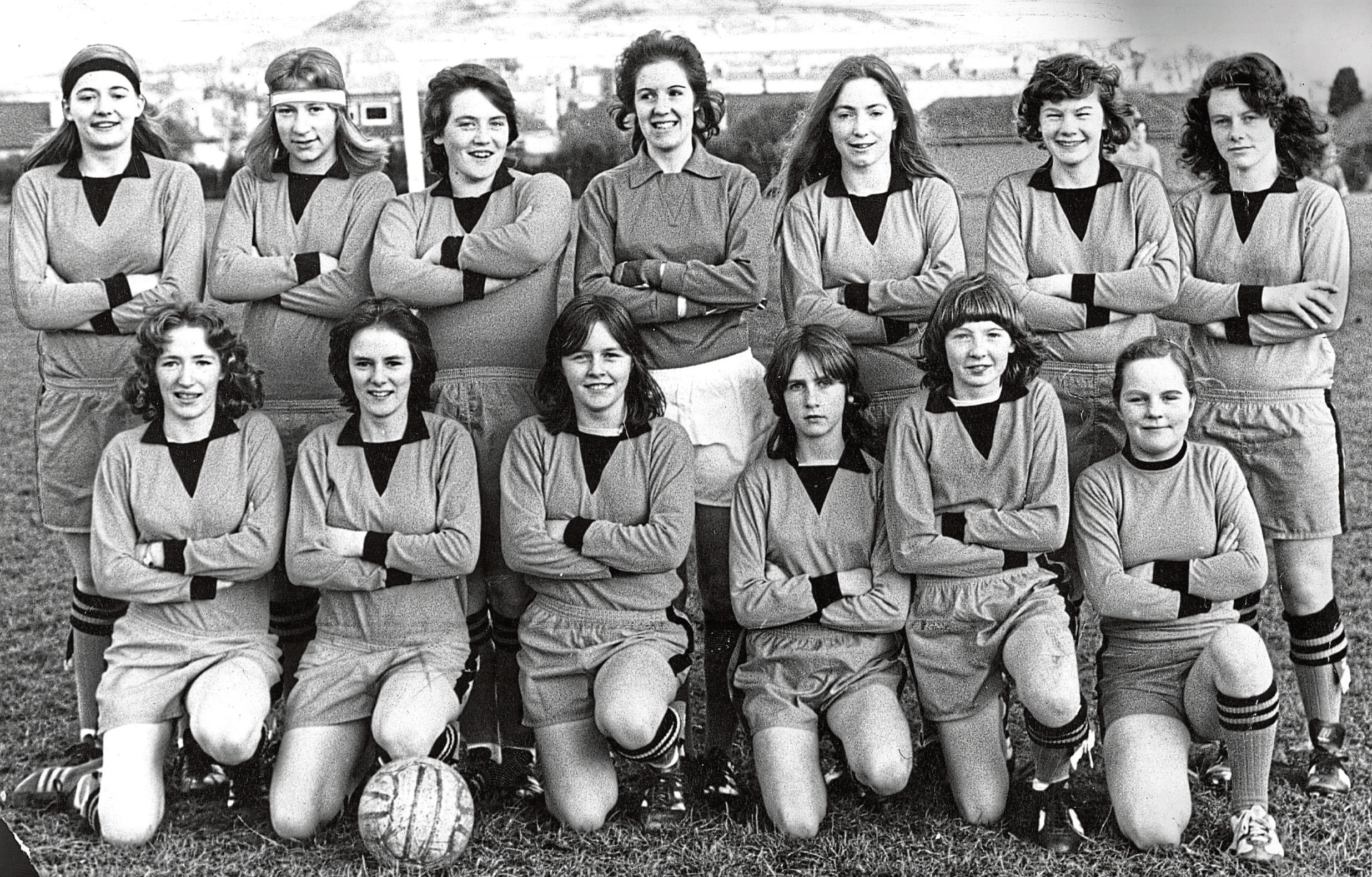 Mary O'Neill is in this very successful Dundee Strikers Ladies FC photgraph from September 1987.  Back row (from left) –  Joan Fleming, Betty Ure, Jennifer Ritchie, Mandy Doogan, Shona Giblin, Linda Arbuckle, Joan Munro, Linda Spalding.  Front row – Colleen Dailly, Jean Smith, Mary O'Neill, Roslynn Gourlay, Jacqueline Anderson, Christine Flanagan. See main story