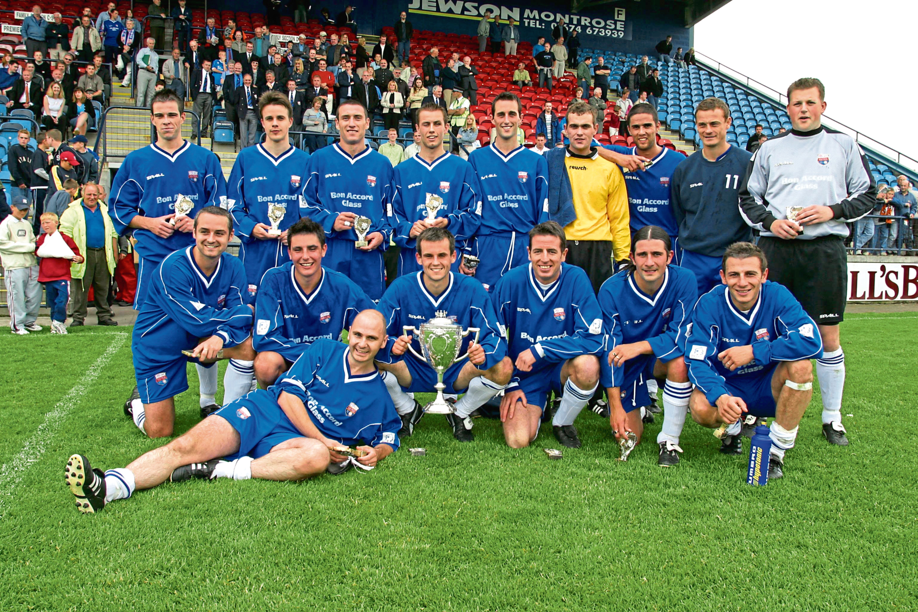 The Montrose team with the trophy after they beat Dundee United in the 2002 Forfarshire Cup Final