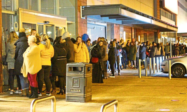 The queue before the doors opened at the Next store in the Gallacher Retail Park.