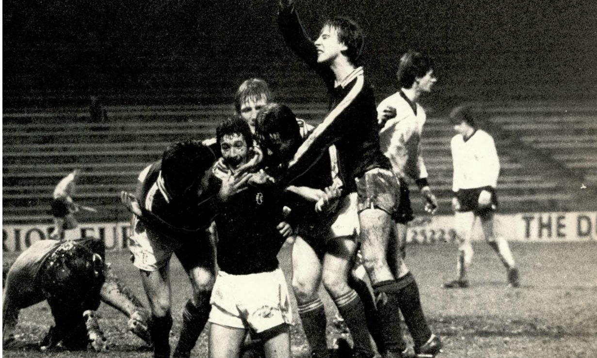 Cammy Fraser celebrating a goal for Dundee against Ayr United in 1980.