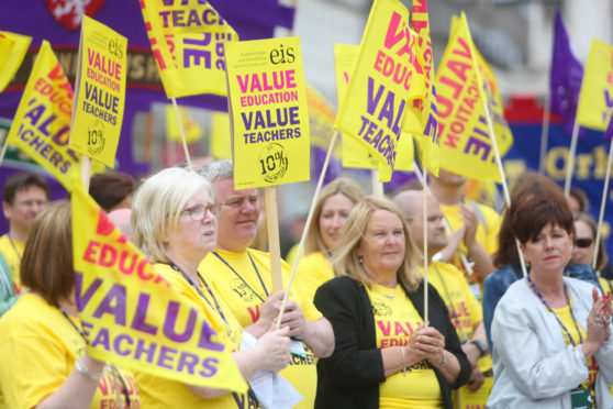 Teachers rallying in Dundee for better pay and conditions earlier this year.