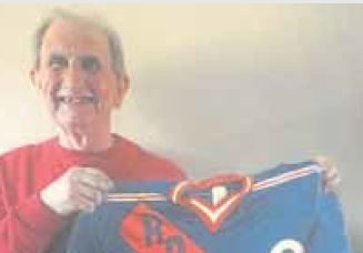 Mark Reid with his father's New York Rangers jersey, altered to highlight Rockets on the front