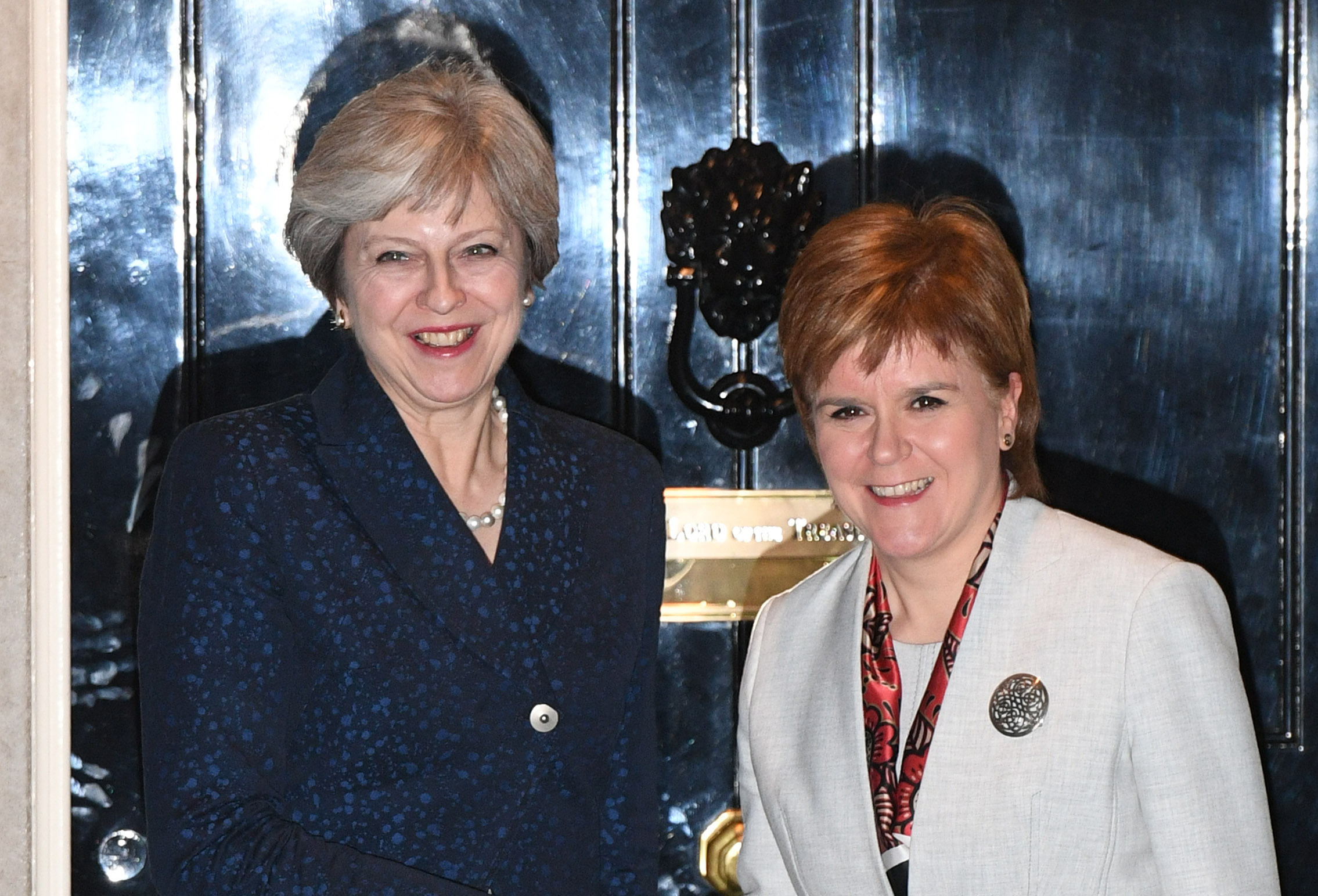 Prime Minister Theresa May (left) greets Scottish First Minister Nicola Sturgeon at 10 Downing Street, London in November 2017