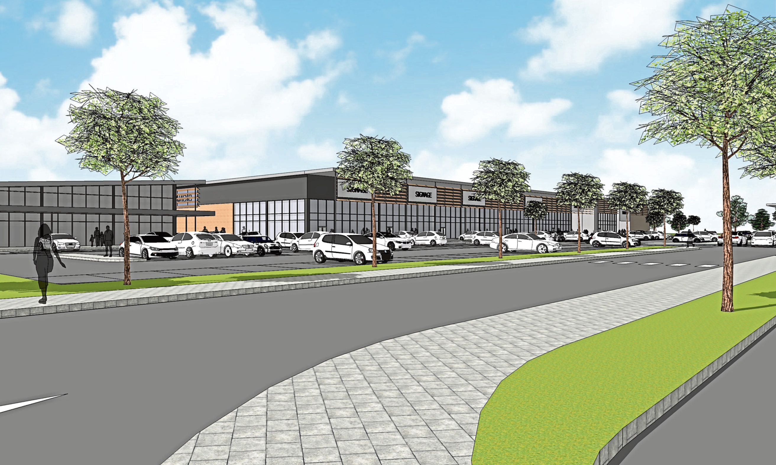 An artist's impression of proposed retail park