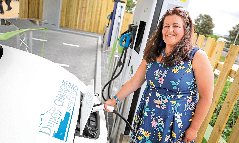 Councillor Lynne Short at the Princes Street charging hub.