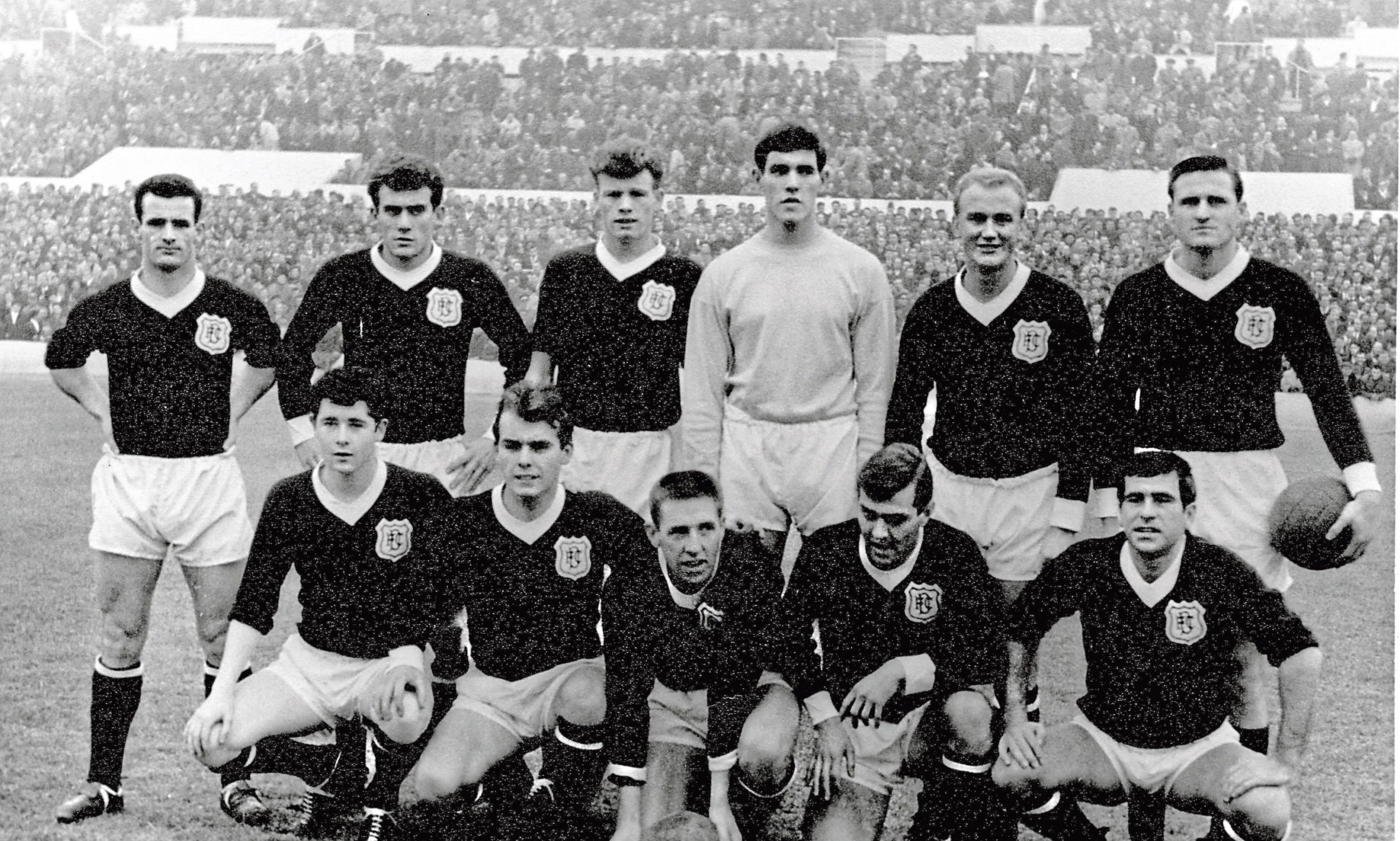 Alex Stuart is in this Dundee line-up which played Zaragoza in Spain on December 8, 1964. Back row (from left) – Bobby Cox, Andy Penman, Alex Stuart, Ally Donaldson, George Ryden, Alan Cousin. Front row – Steve Murray, Kenny Cameron, Alex Hamilton, Doug Houston, Hugh Robertson