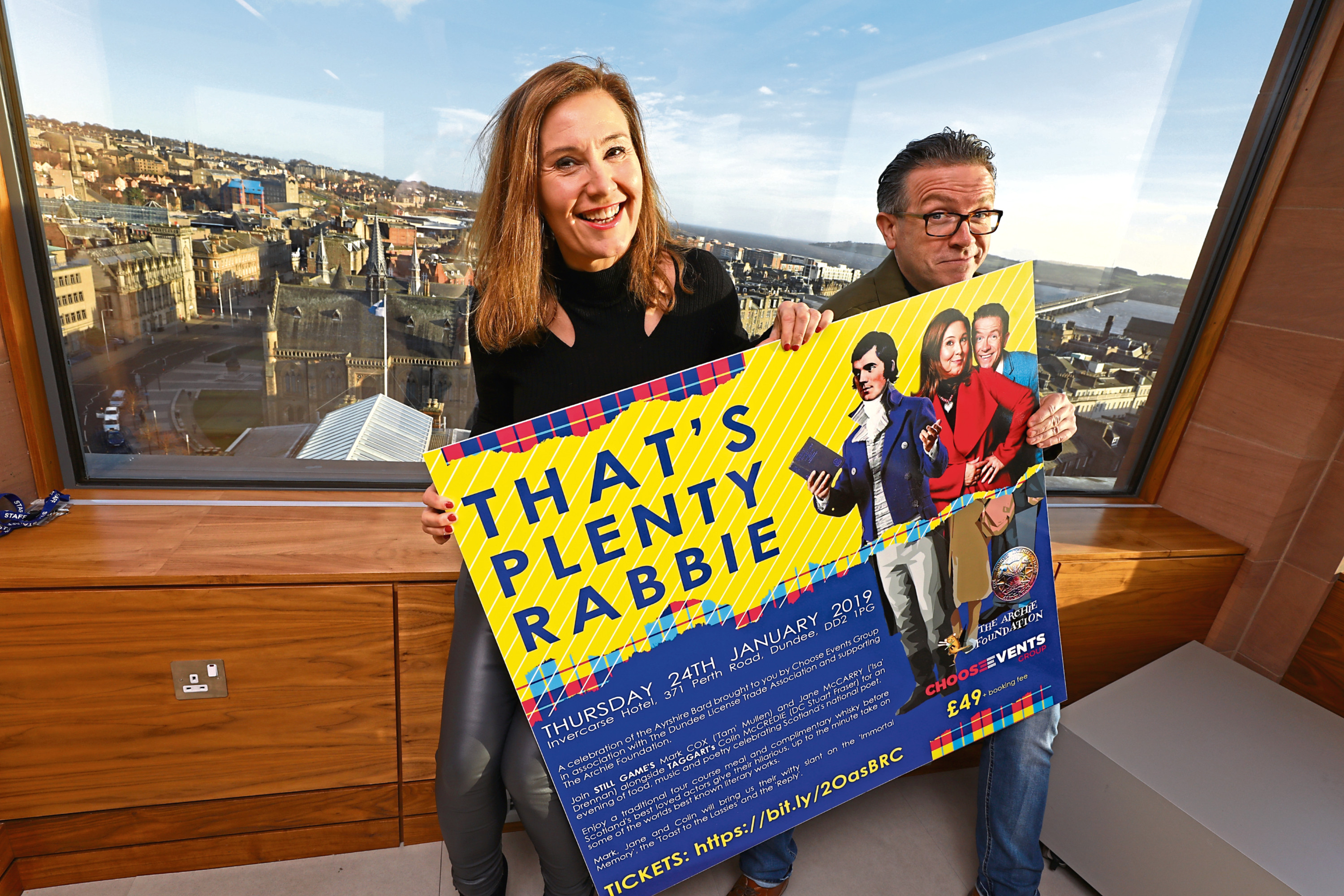 Tam and Isa from Still Game, aka Mark Cox and Jane McCarry, in Dundee to promote the forthcoming Burns Supper 'That's Plenty Rabbie' at the Invercarse Hotel on Thursday January 24