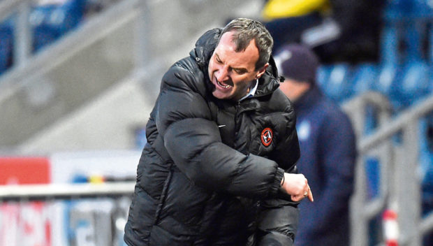 Then-Dundee United boss Csaba Laszlo raged at the 6-1 loss at Falkirk this time last year