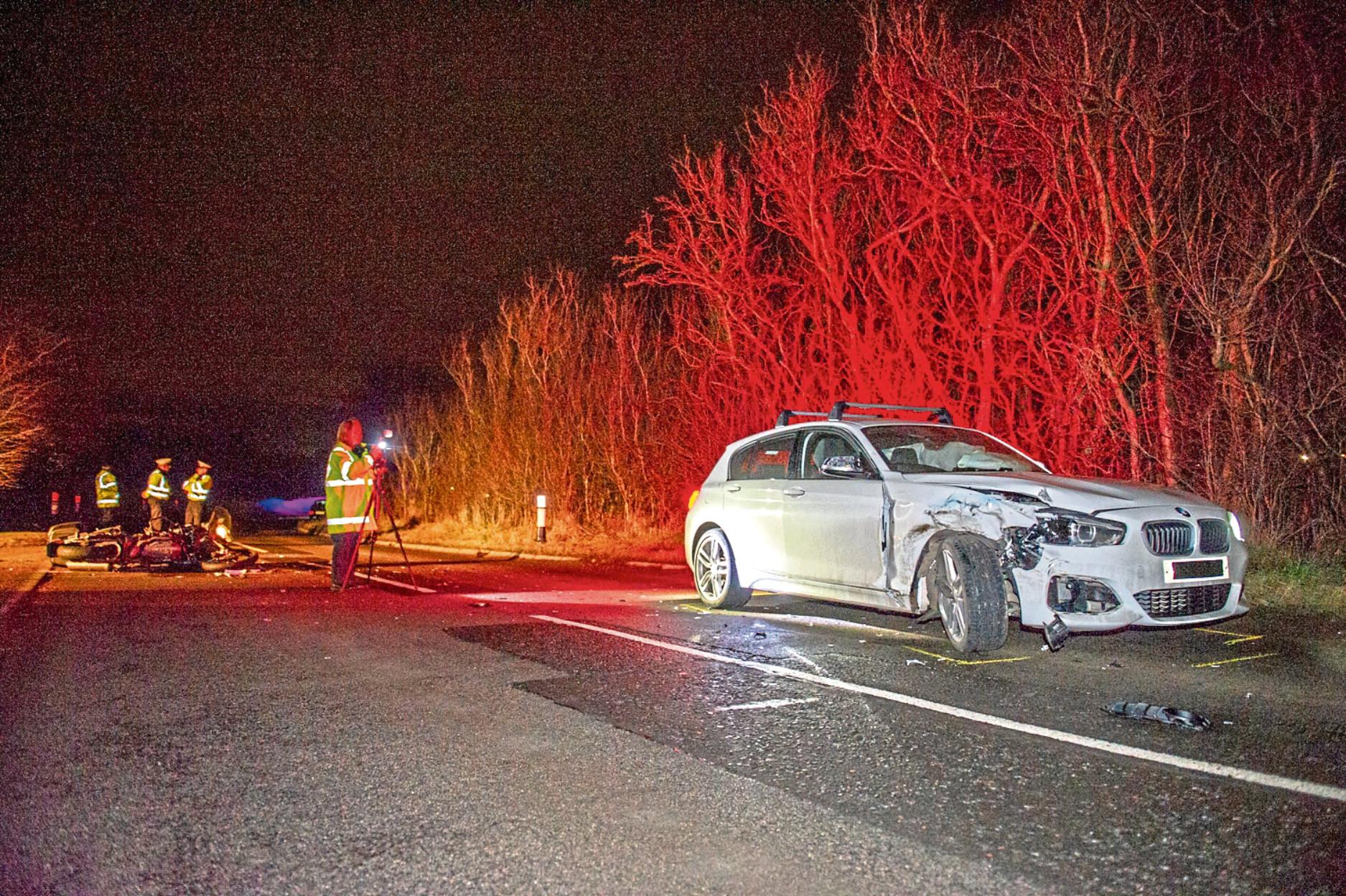 Scene of the crash in Auchterhouse on the B954
