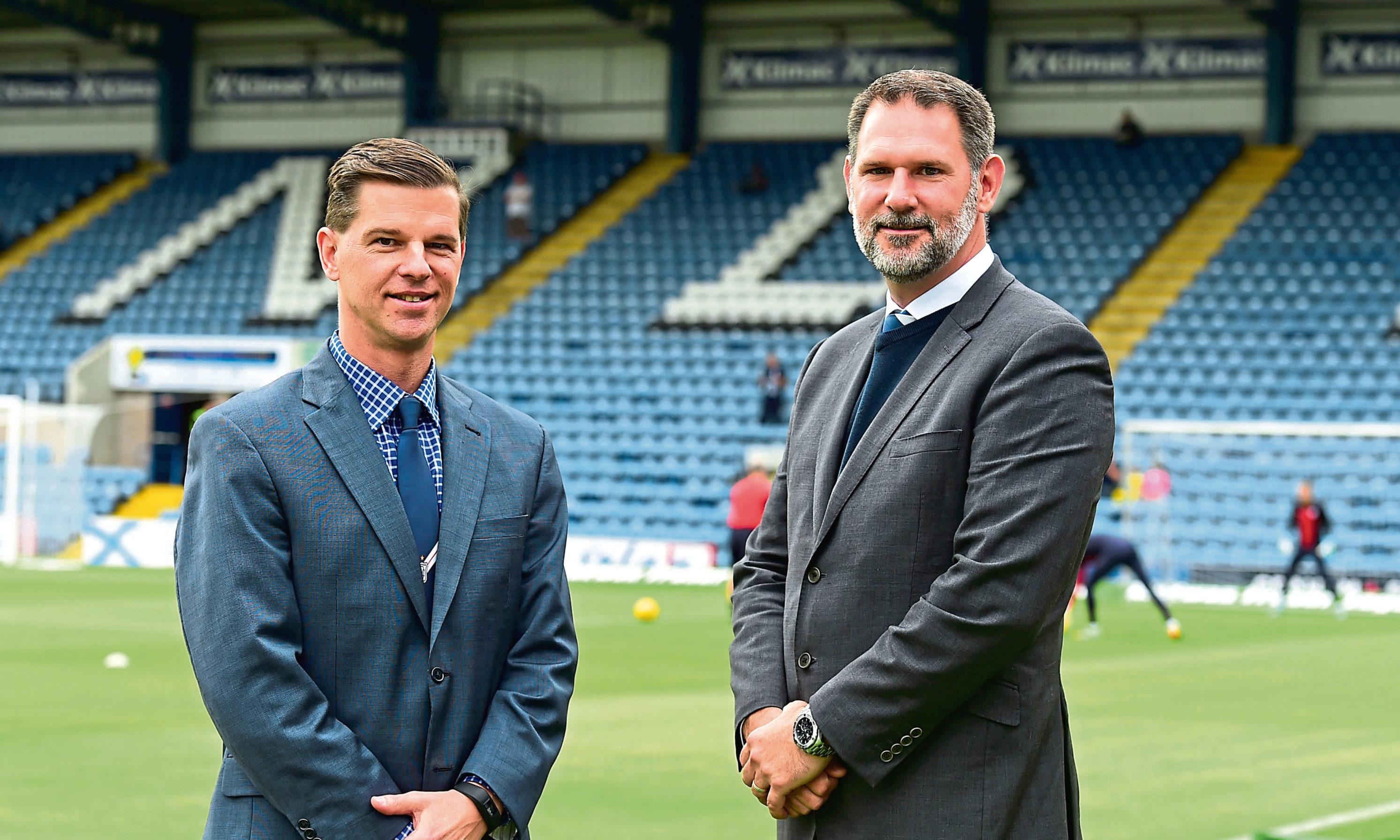 Dundee chairman Tim Keyes (left) and owner John Nelms